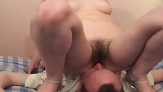 Face fucked with her hairy pussy